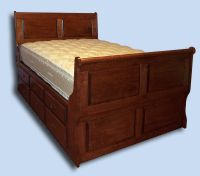Handcrafted Cherry 6 Panel Colonial Sleigh Bed with 12 Drawers