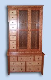 Custom Handcrafted Heirloom Flame Cherry & Bird's Eye Maple Shaker Gun Cabinet