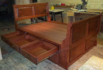 Cherry 6 Panel Sleigh Bed with 12 Drawers