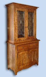 Cherry Colonial China Cabinet with Custom Leaded Glass Doors