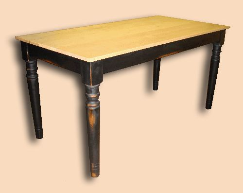 Early Settler's Rustic Farmhouse Table with Turned Legs