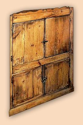 Early Settler's Knotty Pine Rustic Corner Cabinet with Hand Forged Hardware