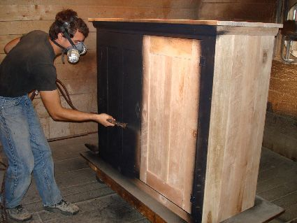 Early Settler's Rustic Painted Entertainment Center