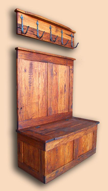 Reclaimed Butternut Panel Bench with Back & Coat Rack