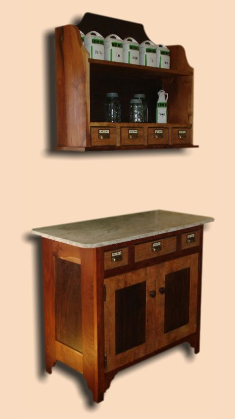 Reclaimed Cherry & Walnut Rustic Spice Shelf & Cupboard