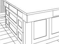An Isometric of the Island, Sub-Zero Cabinets, and Wrap-around Wine Cabinets with Desk.