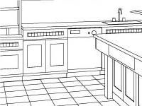 An Isometric of the Island, Bank of Cabinets, and Desk.