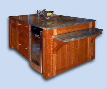 Heirloom Flame Cherry Shaker Style Kitchen Custom Island