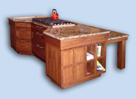 Sugar Maple and Walnut Asian Style Kitchen Custom Island