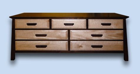 Walnut & Tiger Maple Modern Arts & Crafts 5 Drawer Chest - Custom Modern Furniture