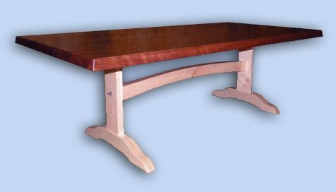 Reclaimed Flame Redwood & Maple Arts & Crafts Trestle Table