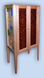 Tiger Maple & Flame Redwood Arts & Crafts Liquor Cabinet