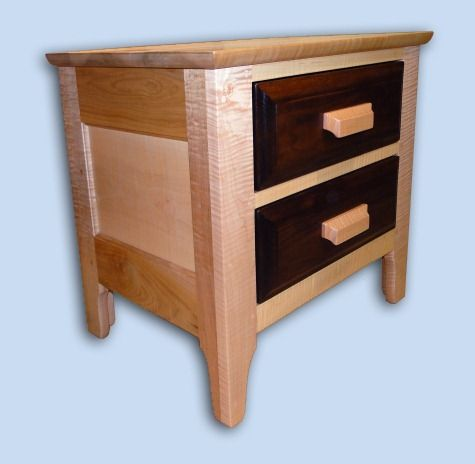 Tiger Maple and Walnut Arts & Crafts Bed Side Table