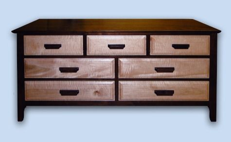 Walnut & Tiger Maple Modern Arts & Crafts 7 Drawer Chest