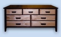 Walnut & Tiger Maple Arts & Crafts 7 Drawer Bureau