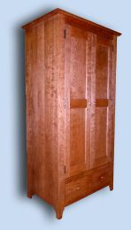 Shaker Lightly Figured Flame Cherry Armoire