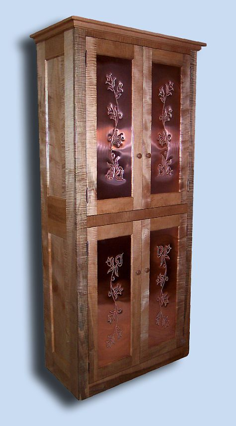 Tiger Maple Shaker Pie Safe / Food Cupboard with Punched Copper Panels