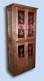 Handcrafted Tiger Maple Shaker Pie Safe / Food Cupboard with Punched Copper