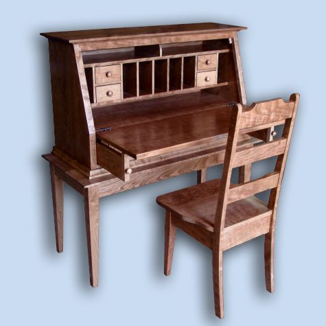 Traditional Flame Cherry Shaker Slant Back Secretary Desk